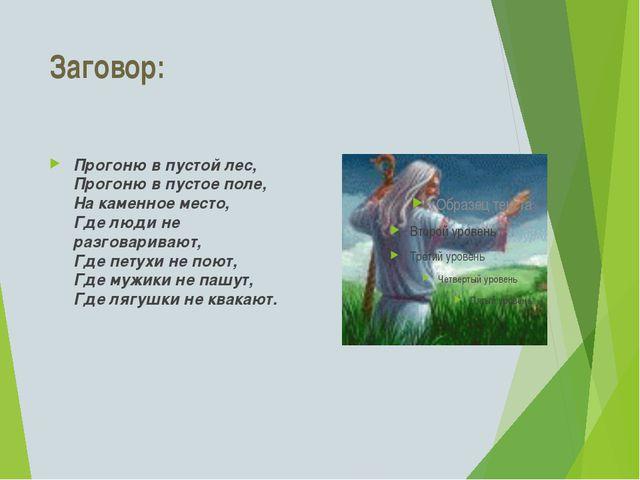 Заговор: Прогоню в пустой лес, Прогоню в пустое поле, На каменное место, Где...