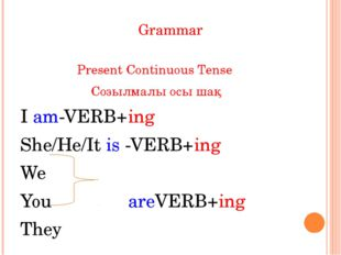 Grammar Present Continuous Tense Созылмалы осы шақ I am-VERB+ing She/He/It is