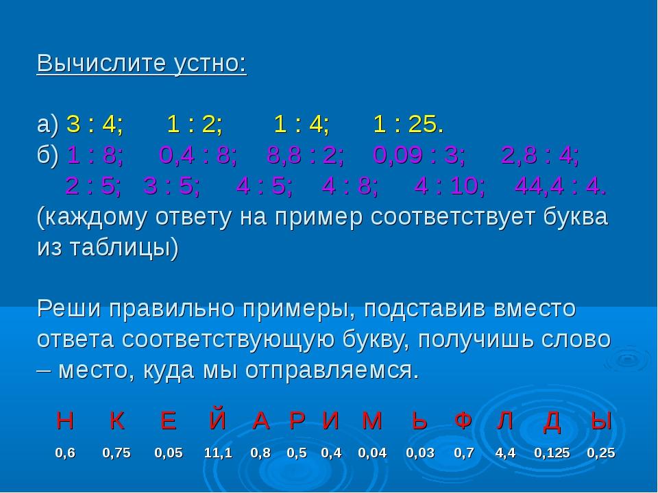 Вычислите устно: а) 3 : 4; 1 : 2; 1 : 4; 1 : 25. б) 1 : 8; 0,4 : 8; 8,8 : 2;...
