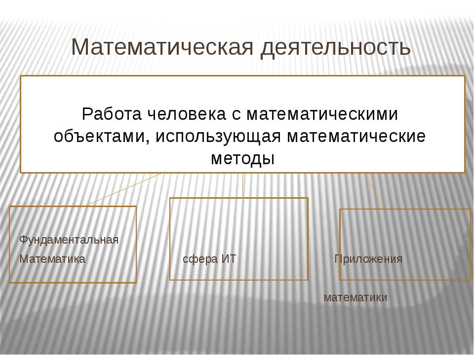 Математическая деятельность Фундаментальная Математика сфера ИТ Приложения ма...