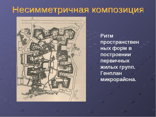 Ритм пространственных форм в построении первичных жилых групп. Генплан микро...