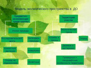 Модель экологического пространства в ДО Предметно- развивающая среда группы Т