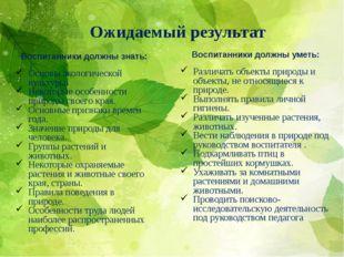 Ожидаемый результат Воспитанники должны знать: Основы экологической культуры.