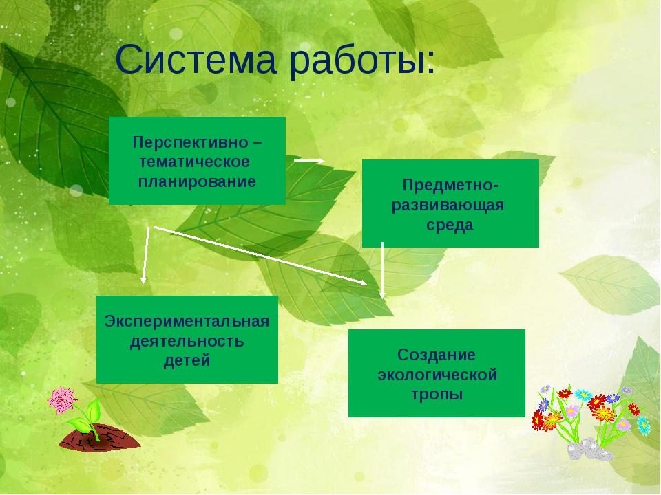 Система работы: Перспективно – тематическое планирование Предметно- развиваю...