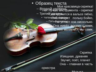 Моя красавица-скрипка! Нет лучше инструмента - скрипка! Она кружится в вальс