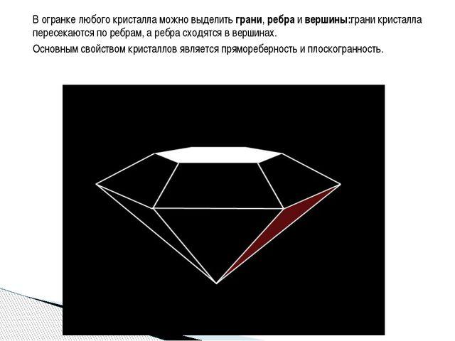 В огранке любого кристалла можно выделить грани, ребра и вершины:грани криста...