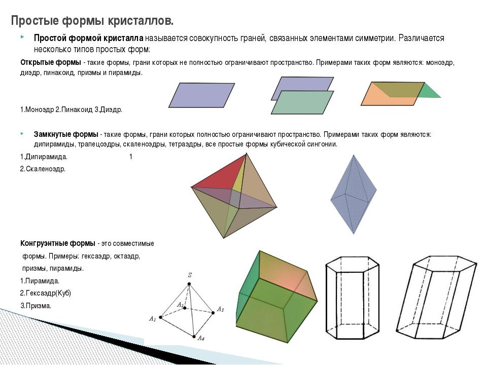 Простой формой кристалла называется совокупность граней, связанных элементами...