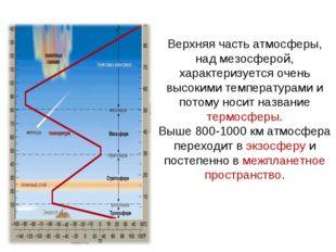Верхняя часть атмосферы, над мезосферой, характеризуется очень высокими темпе