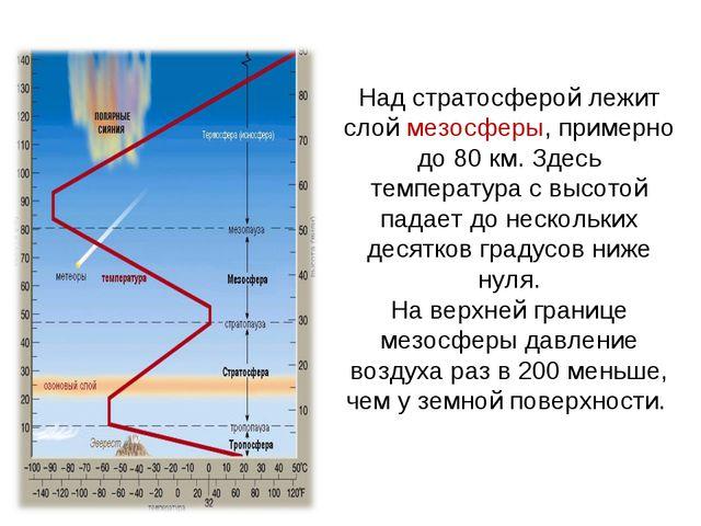 Над стратосферой лежит слой мезосферы, примерно до 80 км. Здесь температура с...