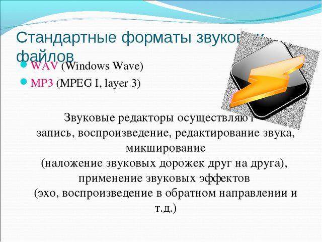 Стандартные форматы звуковых файлов WAV (Windows Wave) MP3 (MPEG I, layer 3)...