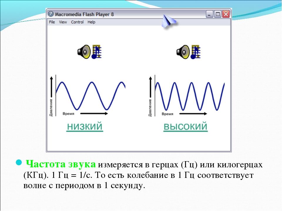 Частота звука измеряется в герцах (Гц) или килогерцах (КГц). 1 Гц = 1/с. То е...