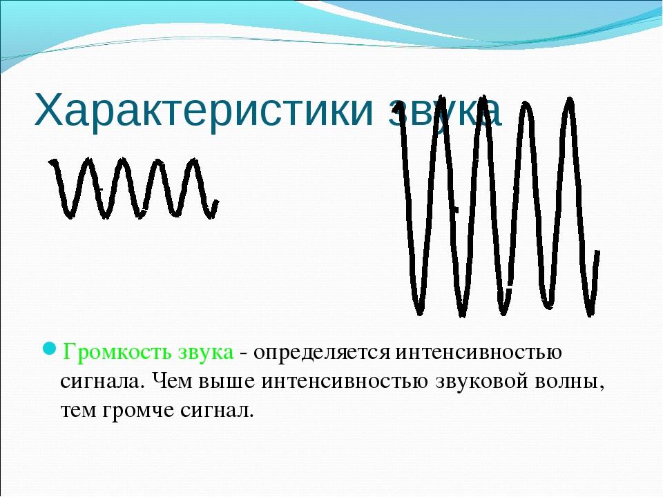 Характеристики звука Громкость звука - определяется интенсивностью сигнала. Ч...