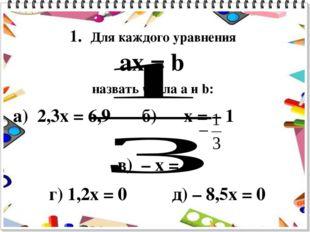 1. Для каждого уравнения ax = b назвать числа a и b: а) 2,3x = 6,9 б) x = – 1