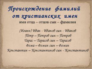 Происхождение фамилий от христианских имен имя отца – отцов сын – фамилия (Ио