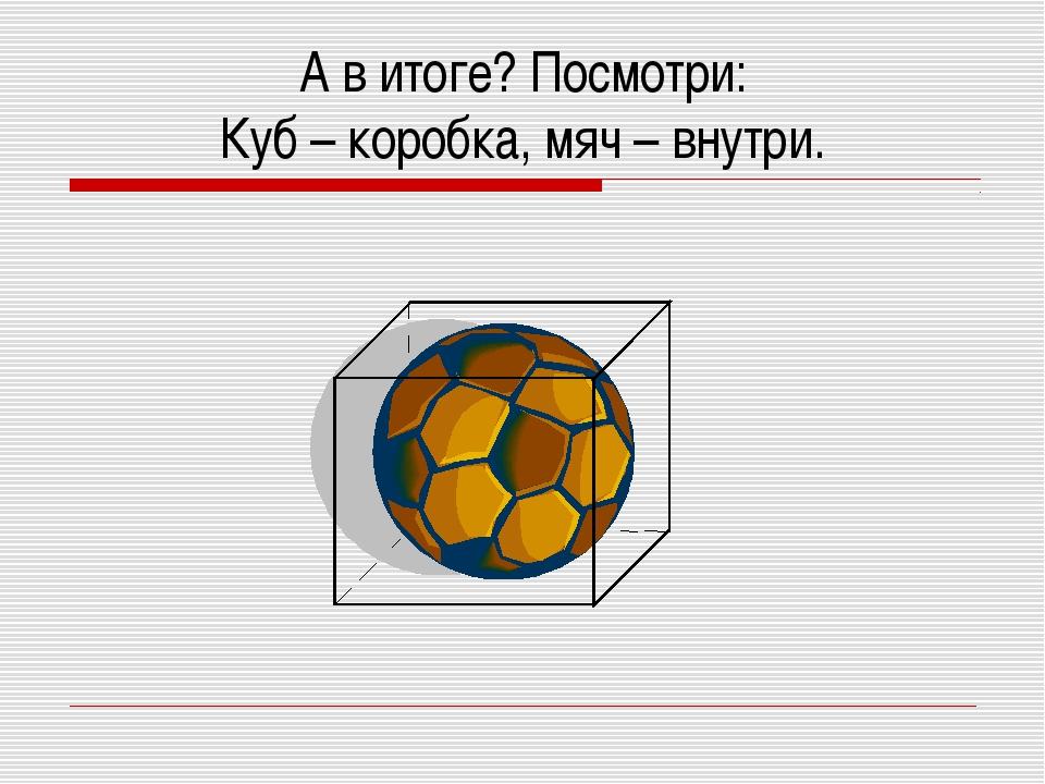 А в итоге? Посмотри: Куб – коробка, мяч – внутри.