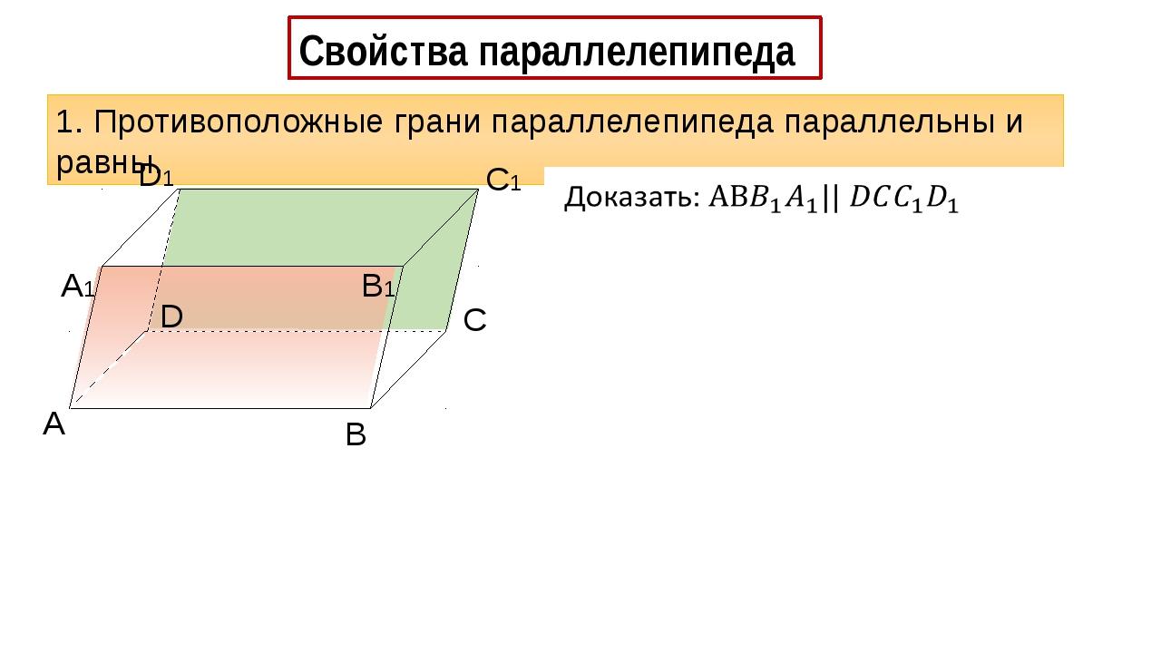Свойства параллелепипеда 1. Противоположные грани параллелепипеда параллельн...