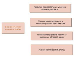 Развитие познавательных умений и навыков учащихся; Умение ориентироваться в и