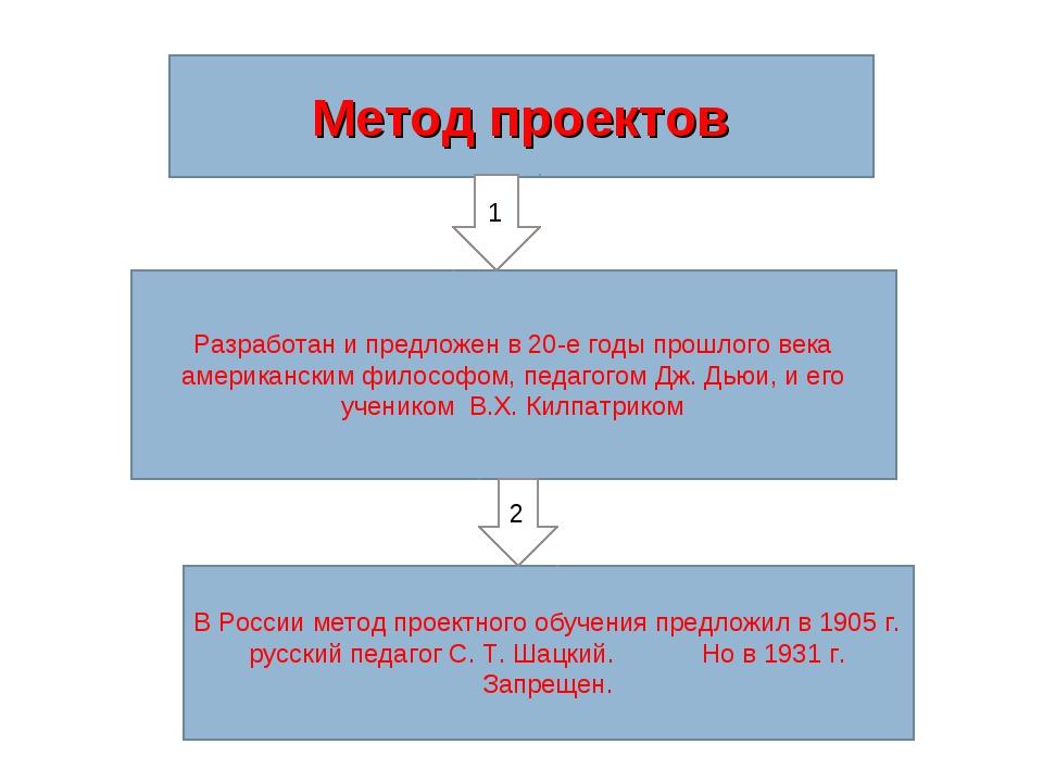 Метод проектов В России метод проектного обучения предложил в 1905 г. русский...