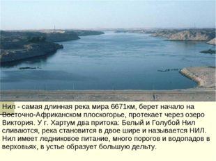 Нил - самая длинная река мира 6671км, берет начало на Восточно-Африканском пл