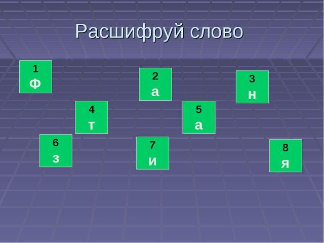 Расшифруй слово 7 и 1 Ф 6 з 2 а 4 т 3 н 5 а 8 я