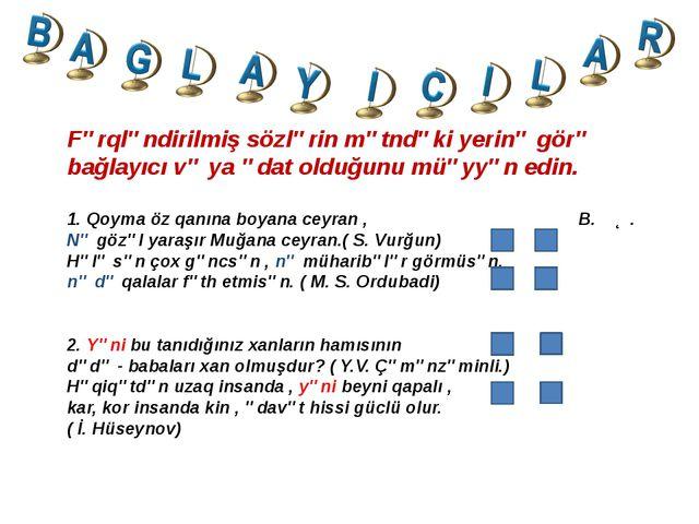 Fərqləndirilmiş sözlərin mətndəki yerinə görə bağlayıcı və ya ədat olduğunu m...