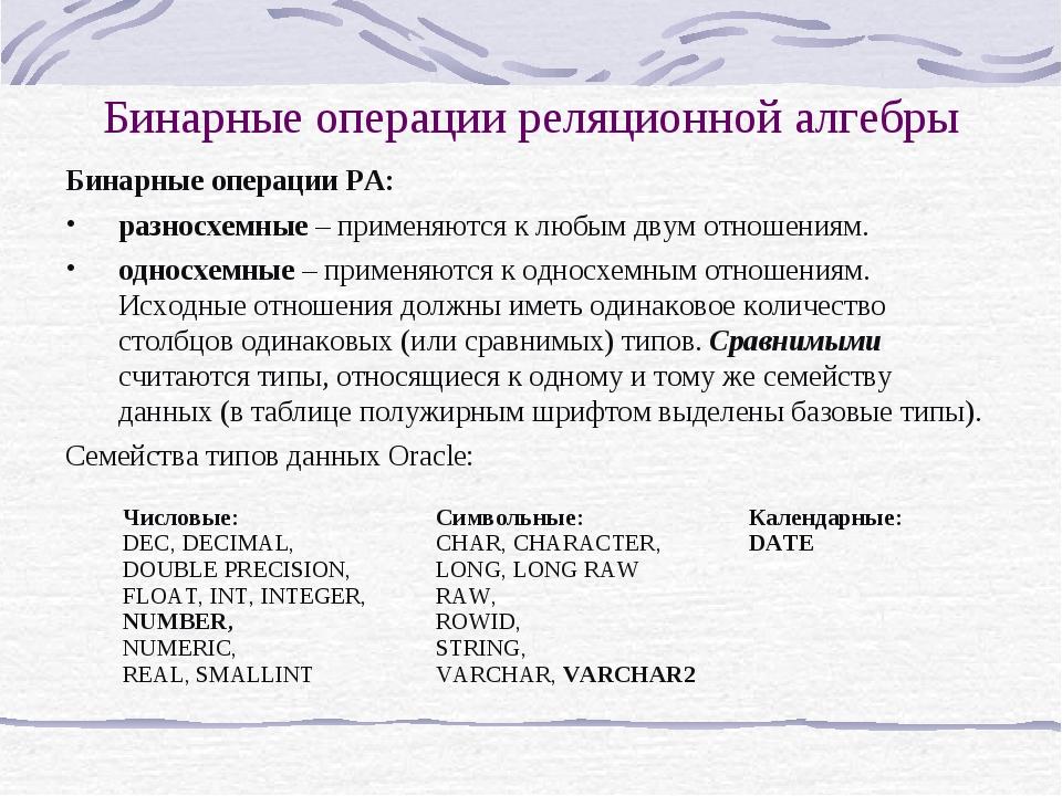 Бинарные операции реляционной алгебры Бинарные операции РА: разносхемные – пр...