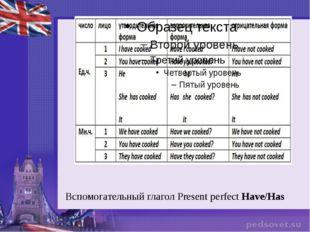 Вспомогательный глагол Рresent perfectHave/Has