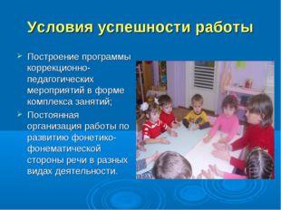 Условия успешности работы Построение программы коррекционно- педагогических м