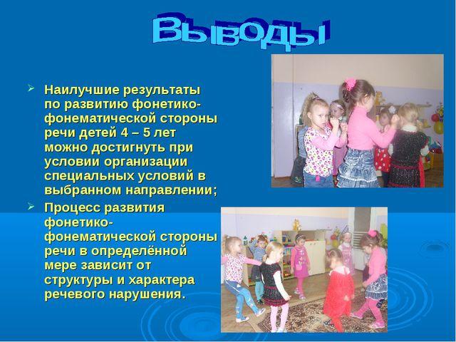 Наилучшие результаты по развитию фонетико-фонематической стороны речи детей 4...