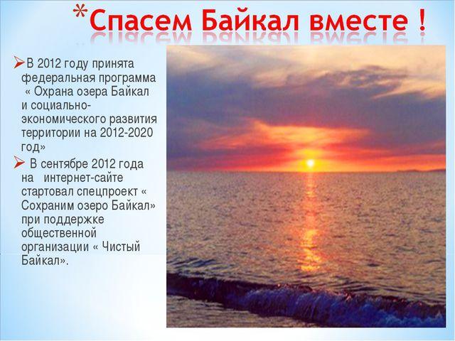 В 2012 году принята федеральная программа « Охрана озера Байкал и социально-э...