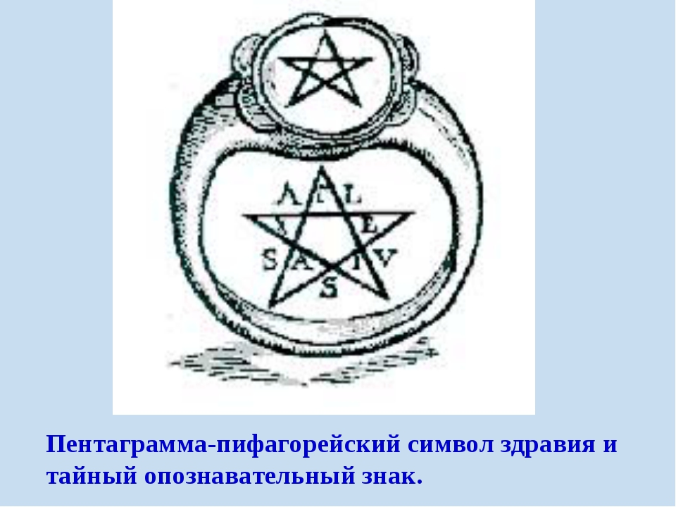 Пентаграмма-пифагорейский символ здравия и тайный опознавательный знак.