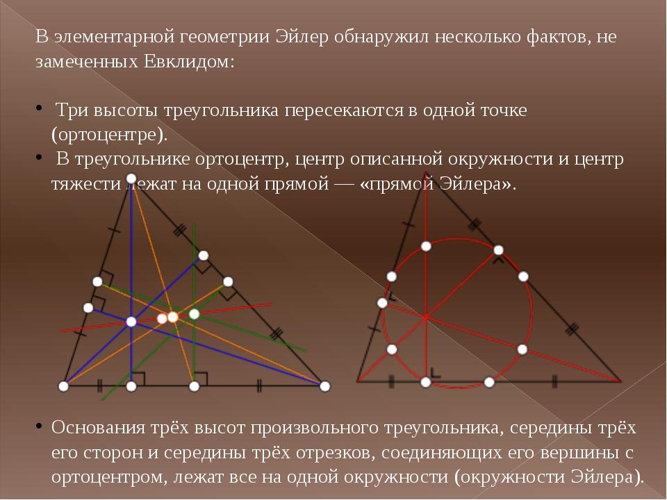 В элементарной геометрии Эйлер обнаружил несколько фактов, не замеченныхЕвкл...