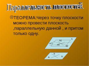 ТЕОРЕМА:Через точку плоскости можно провести плоскость ,параллельную данной ,