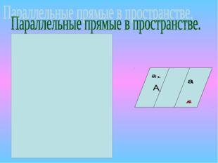 Две прямые в пространстве называются ПАРАЛЛЕЛЬНЫМИ,если они лежат в одной пло