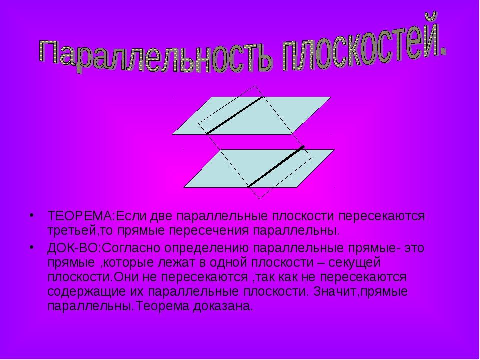 ТЕОРЕМА:Если две параллельные плоскости пересекаются третьей,то прямые пересе...