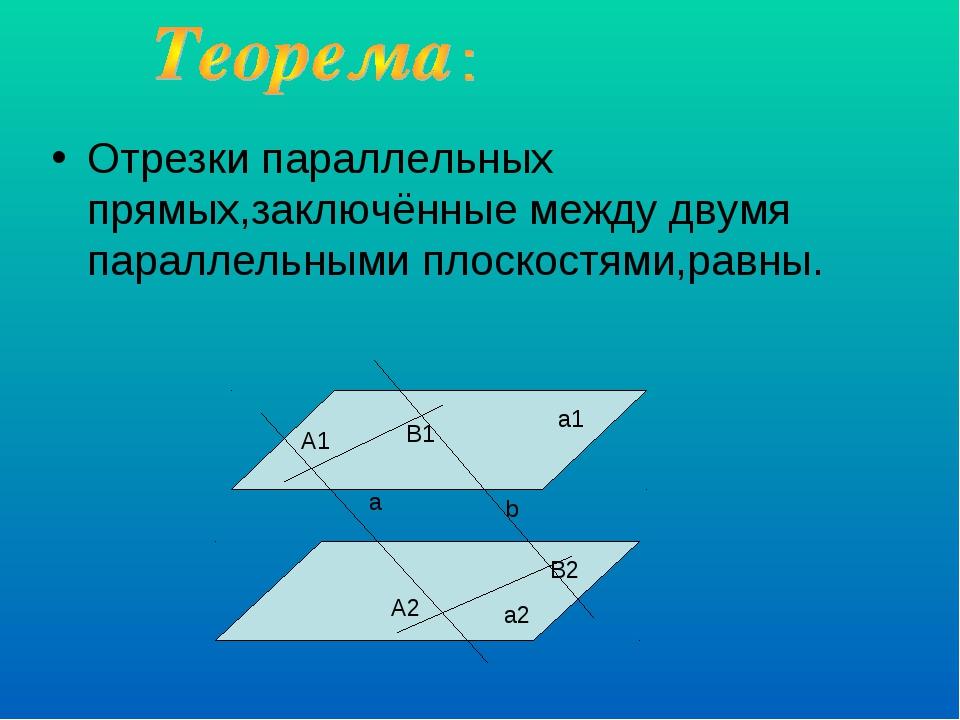 Отрезки параллельных прямых,заключённые между двумя параллельными плоскостями...