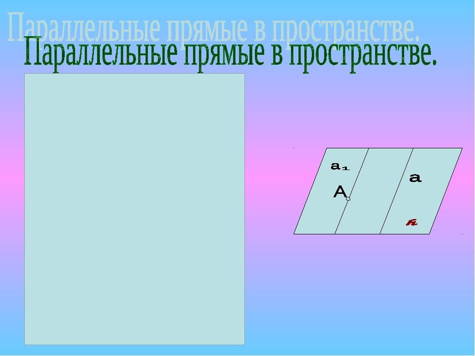 Две прямые в пространстве называются ПАРАЛЛЕЛЬНЫМИ,если они лежат в одной пло...