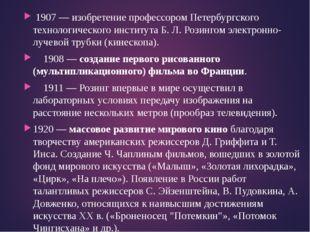 1907 — изобретение профессором Петербургского технологического института Б.