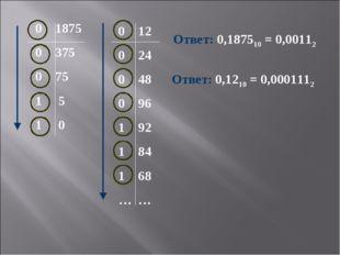 0 1875 0 375 0 75 1 5 1 0 Ответ: 0,187510 = 0,00112 0 12 0 24 0 48 0 96 1 92