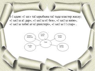 1-қадам: «Қыс» тақырыбына тақтада кластер жасау; «Қысқы аңдар», «Қысқы еңбек»