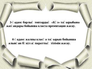 3-қадам: барлық топтардың «Күз» тақырыбына жазғандары бойынша класта презента