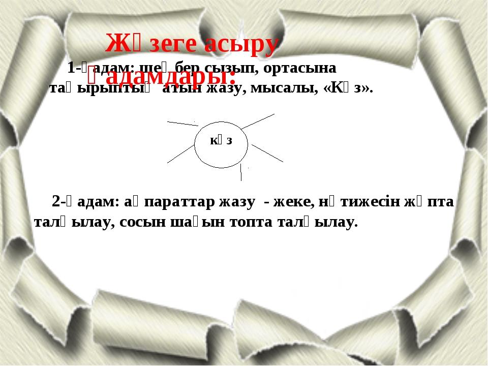 күз 1-қадам: шеңбер сызып, ортасына тақырыптың атын жазу, мысалы, «Күз». 2-қа...