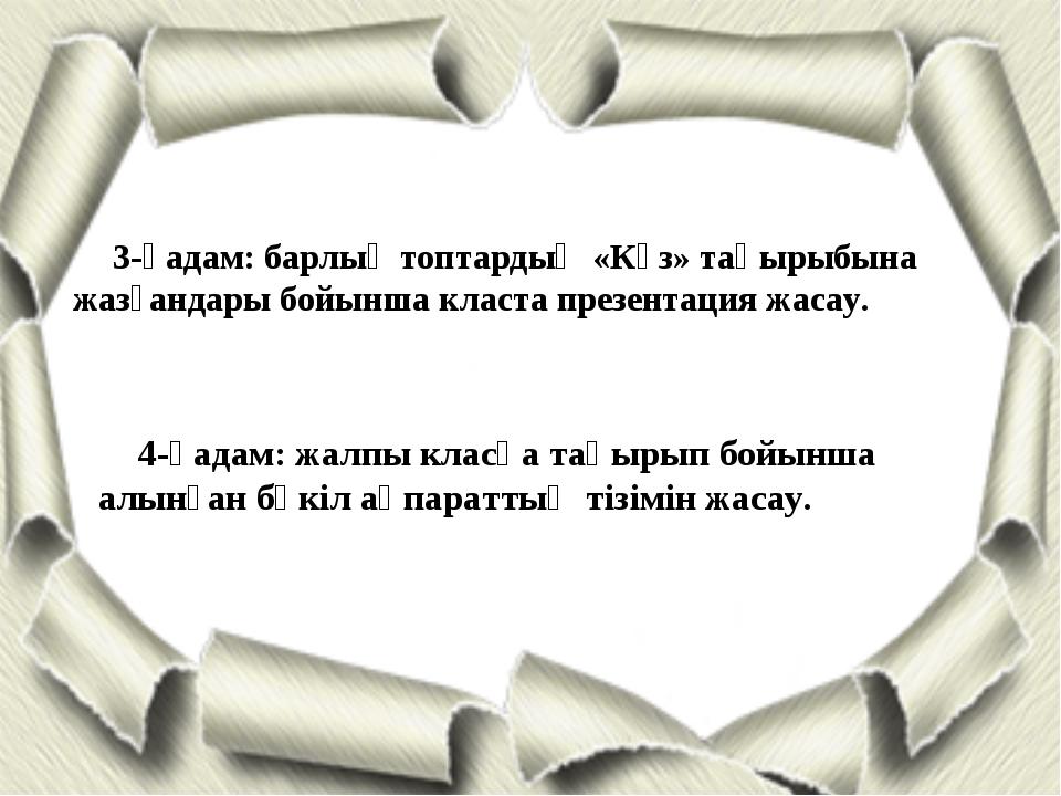 3-қадам: барлық топтардың «Күз» тақырыбына жазғандары бойынша класта презента...