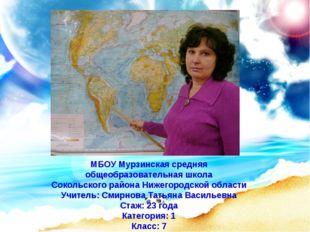 МБОУ Мурзинская средняя общеобразовательная школа Сокольского района Нижегоро