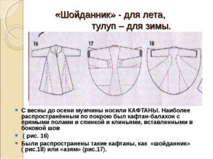 «Шойданник» - для лета, тулуп – для зимы. С весны до осени мужчины носили КА