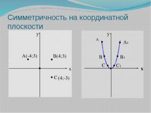 Симметричность на координатной плоскости y x A B(4;3) C y x A A1 B1 B C C1 (