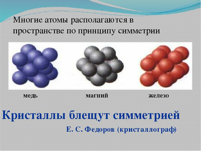 магний железо медь Кристаллы блещут симметрией Е. С. Федоров (кристаллограф)...