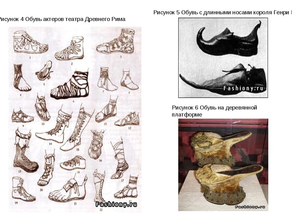 Рисунок 4 Обувь актеров театра Древнего Рима Рисунок 5 Обувь с длинными носам...