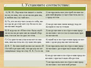 1. Установите соответствие:  А) М. Ю. Лермонтов пишет о своём поколении
