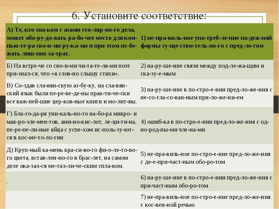 6. Установите соответствие: A) Те, кто знаком с азами столярного дела, мо...